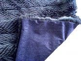 Pelzdecke Nr22 aus gefedertem und nachtblau gefärbtem Blaufuchs - Rückseite aus blauem Moiree